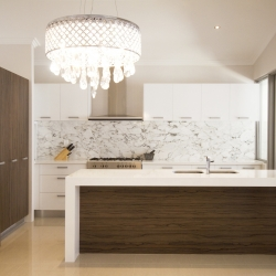 kitchen with marble and limestone bench